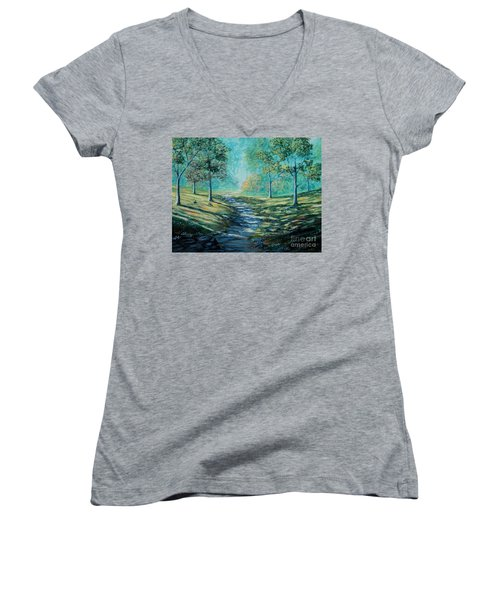 Misty Morning Path Women's V-Neck T-Shirt (Junior Cut) by Ruanna Sion Shadd a'Dann'l Yoder