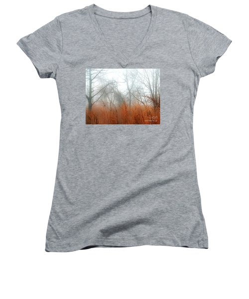 Women's V-Neck T-Shirt (Junior Cut) featuring the photograph Misty Morning by Raymond Earley