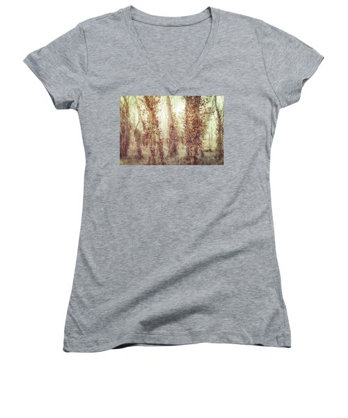 Misty Morning Winter Forest  Women's V-Neck T-Shirt (Junior Cut) by Robert FERD Frank
