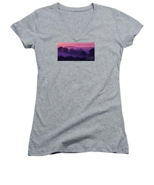 Misty Mountain Dawn Women's V-Neck T-Shirt (Junior Cut) by Thomas R Fletcher
