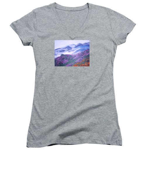 Women's V-Neck T-Shirt (Junior Cut) featuring the painting Misty Mountain Hop by Donna Dixon
