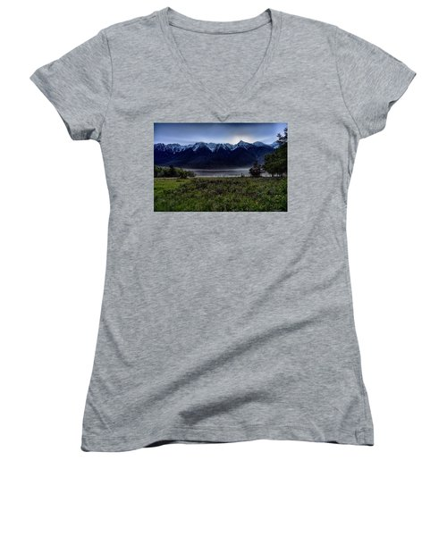 Women's V-Neck T-Shirt (Junior Cut) featuring the photograph Misty Mountain Morning Meadow  by Darcy Michaelchuk