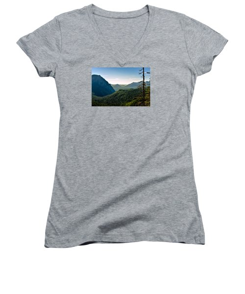 Women's V-Neck T-Shirt (Junior Cut) featuring the photograph Misty Mountains by Anthony Baatz