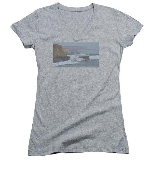 Misty Pacific Cliffs Women's V-Neck