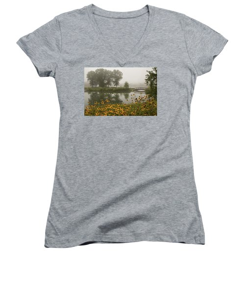 Misty Pond Bridge Reflection #3 Women's V-Neck