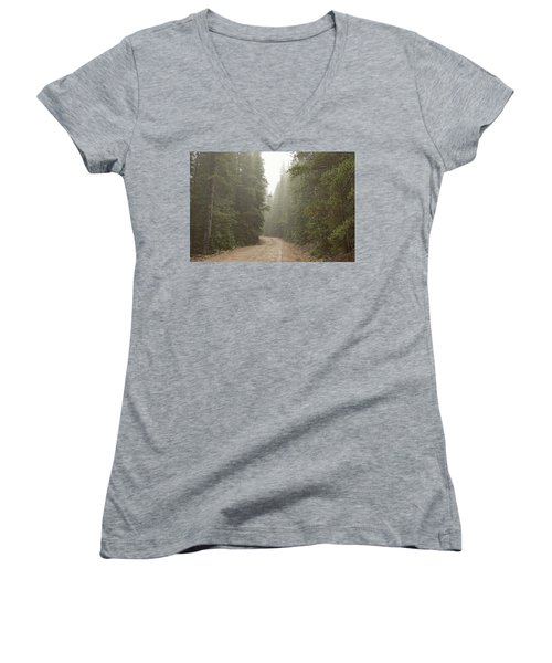 Women's V-Neck T-Shirt featuring the photograph Misty Road by James BO Insogna