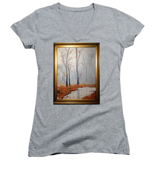 Misty Stream In Autumn Women's V-Neck T-Shirt