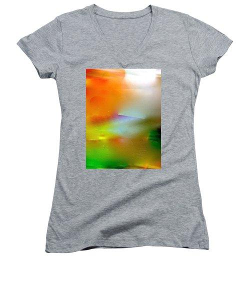 Women's V-Neck T-Shirt (Junior Cut) featuring the digital art Misty Waters by Patricia Schneider Mitchell