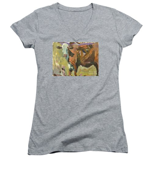 Women's V-Neck T-Shirt (Junior Cut) featuring the painting Mixed Media Cow Painting by Robert Joyner