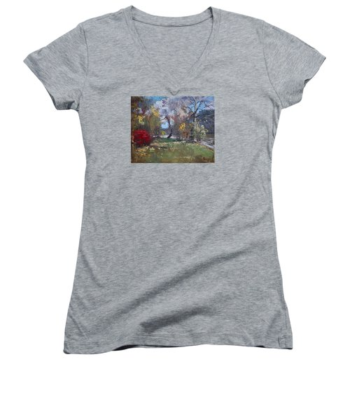 Mixed Weather In A Fall Afternoon Women's V-Neck T-Shirt (Junior Cut) by Ylli Haruni