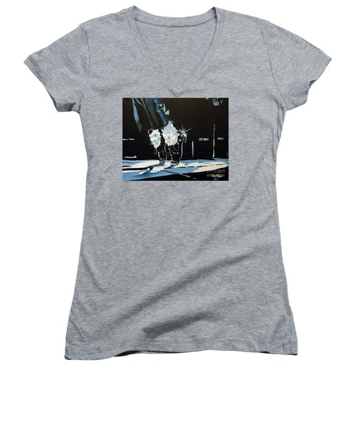 Mj On His Toes Women's V-Neck T-Shirt