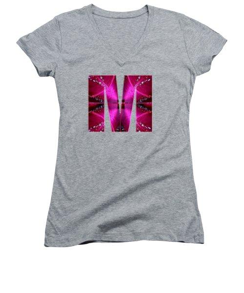 Mmm Mm M Alpha Art On Shirts Alphabets Initials   Shirts Jersey T-shirts V-neck By Navinjoshi Women's V-Neck T-Shirt (Junior Cut) by Navin Joshi