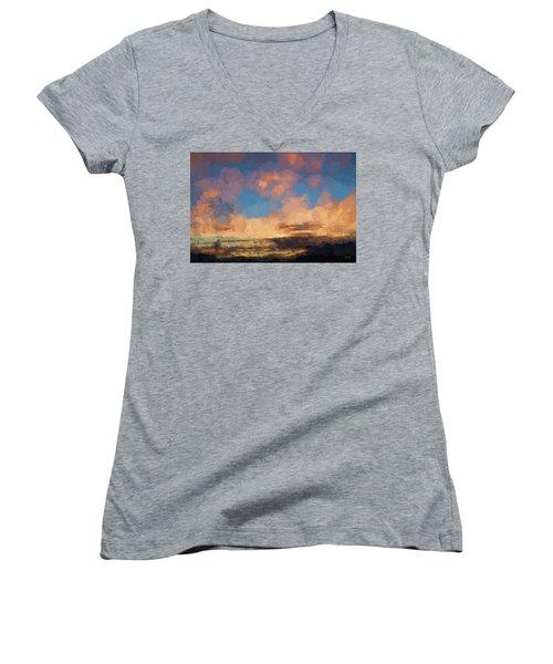 Moab Sunrise Abstract Painterly Women's V-Neck