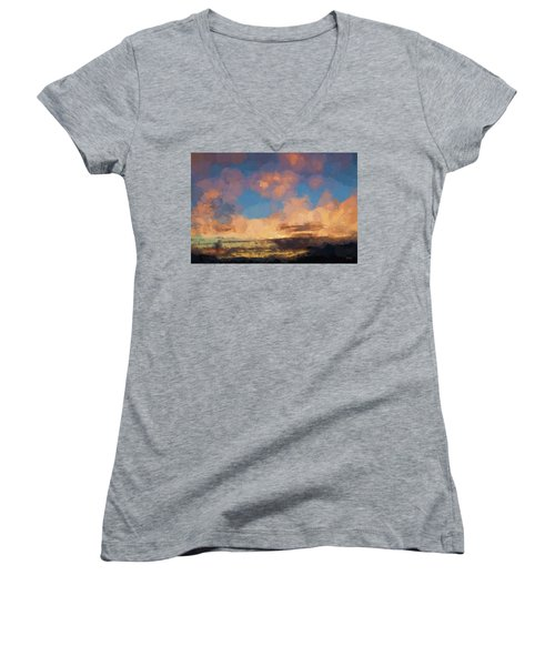 Moab Sunrise Abstract Painterly Women's V-Neck (Athletic Fit)