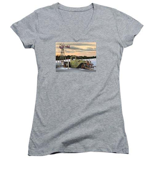 Women's V-Neck T-Shirt (Junior Cut) featuring the digital art Model A Flatbed by Stuart Swartz