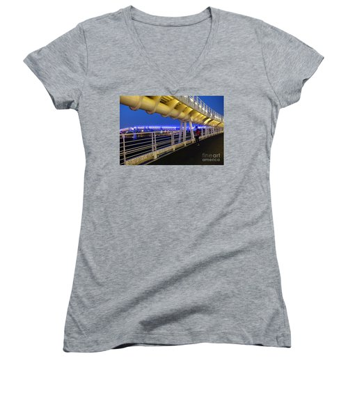 Women's V-Neck T-Shirt (Junior Cut) featuring the photograph Modern Bicycle Overpass By Night by Yali Shi