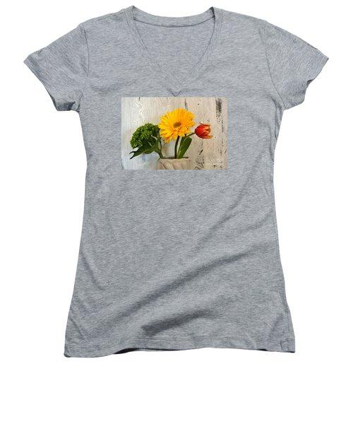 Women's V-Neck T-Shirt (Junior Cut) featuring the photograph Modern Bouquet by Marsha Heiken