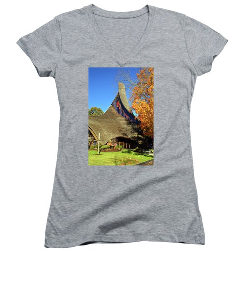 Modern New England Church In Fall Women's V-Neck (Athletic Fit)