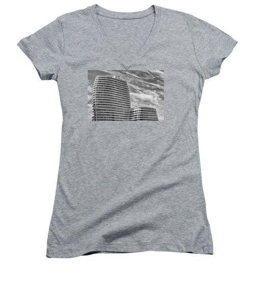 Modern Office Building Women's V-Neck (Athletic Fit)