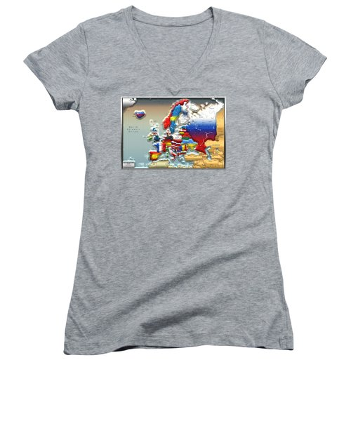 Modern Portrait Of Modern Europe - 3d Women's V-Neck