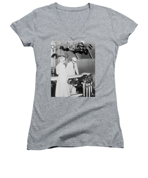 Women's V-Neck T-Shirt (Junior Cut) featuring the photograph Modern Surgery by Daniel Hagerman