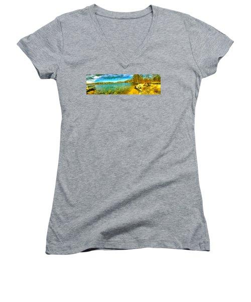 Women's V-Neck T-Shirt featuring the painting Mohegan Lake Panoramic Beach by Derek Gedney