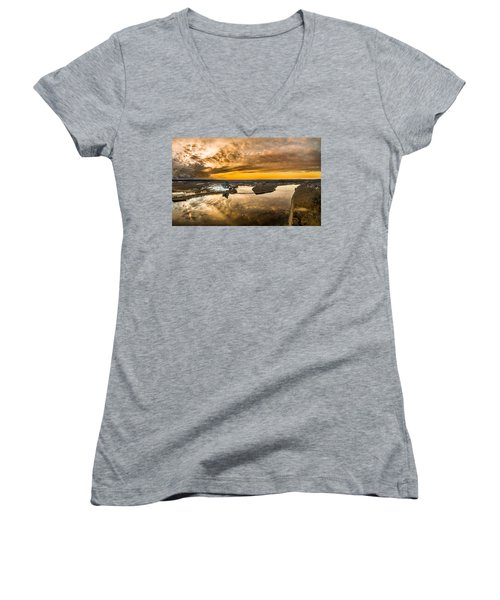 Women's V-Neck T-Shirt (Junior Cut) featuring the photograph Mohegan Sun Sunset by Petr Hejl