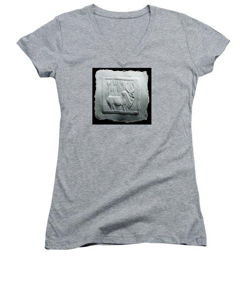 Mohenjodaro Seal Relief Drawing Women's V-Neck T-Shirt (Junior Cut) by Suhas Tavkar