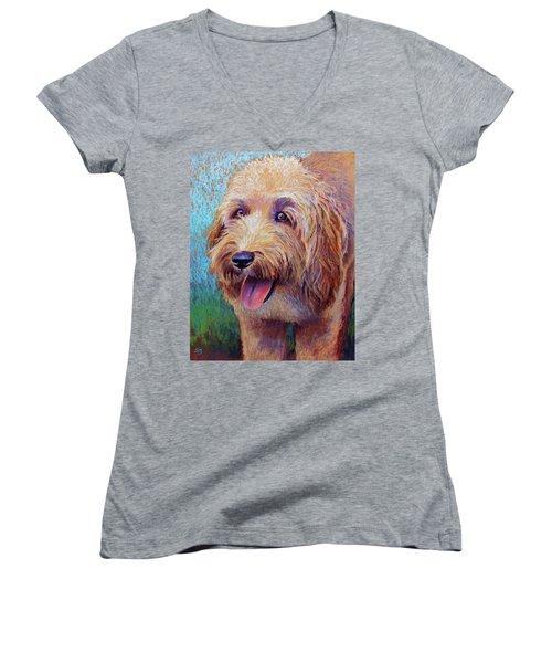Mojo The Shaggy Dog Women's V-Neck T-Shirt