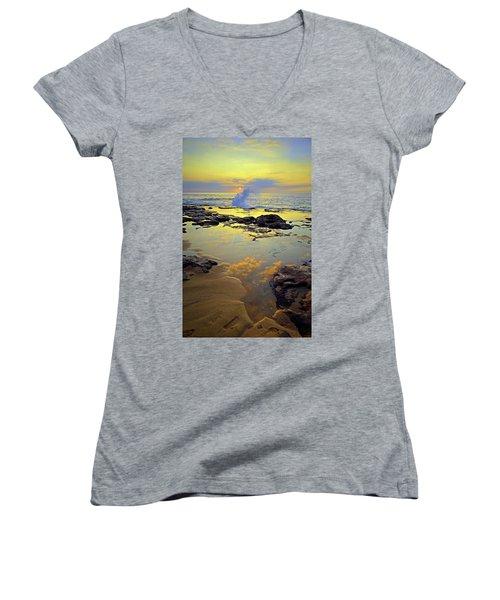 Women's V-Neck T-Shirt (Junior Cut) featuring the photograph Mololkai Splash by Tara Turner