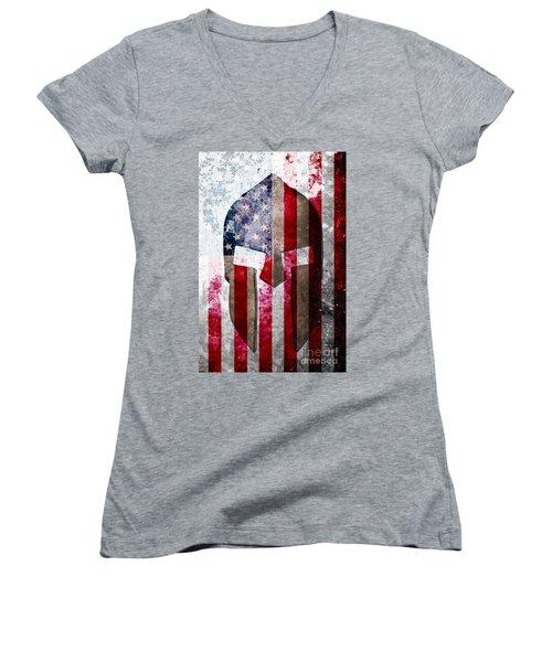 Molon Labe - Spartan Helmet Across An American Flag On Distressed Metal Sheet Women's V-Neck T-Shirt