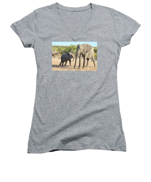 Women's V-Neck T-Shirt (Junior Cut) featuring the photograph Mom And Baby by Betty-Anne McDonald
