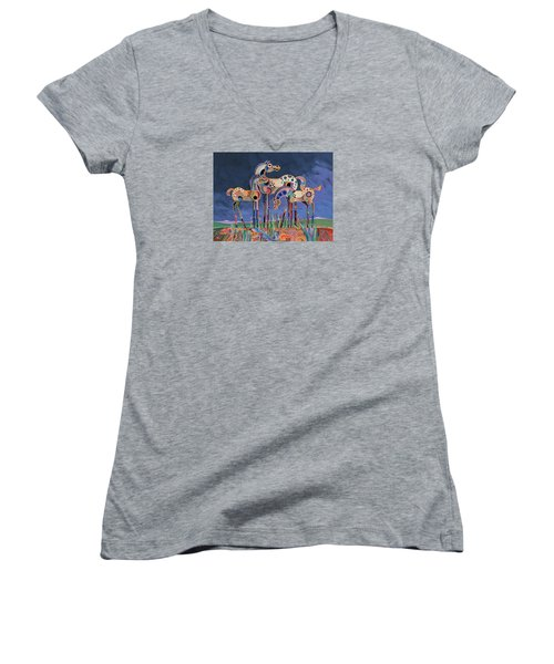 Women's V-Neck T-Shirt (Junior Cut) featuring the painting Mom And Foals by Bob Coonts