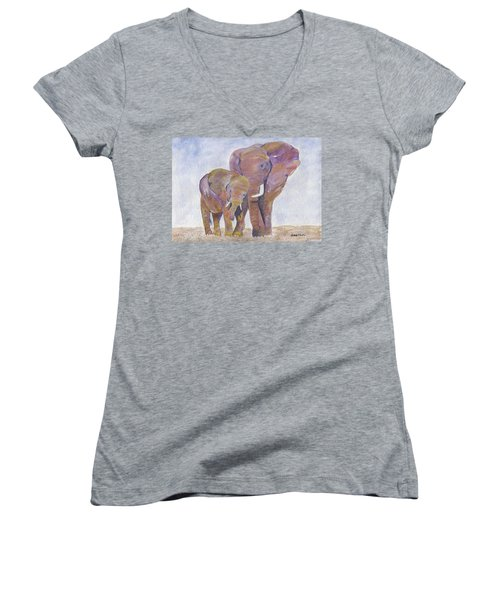 Women's V-Neck T-Shirt featuring the painting Mom And Me by Jamie Frier