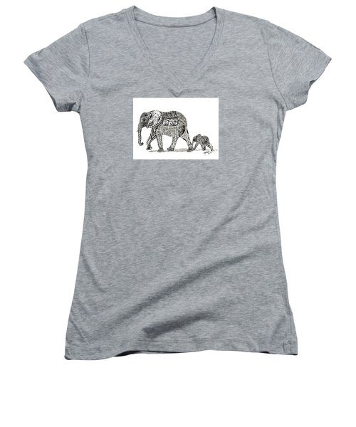 Women's V-Neck T-Shirt (Junior Cut) featuring the drawing Momma And Baby Elephant by Kathy Sheeran