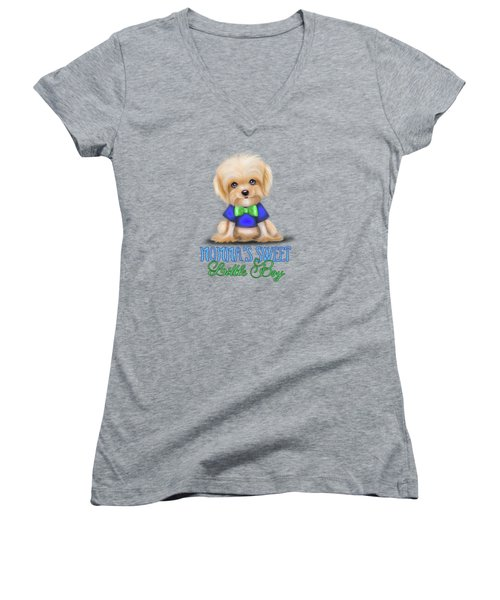 Mommas Sweet Little Boy Women's V-Neck