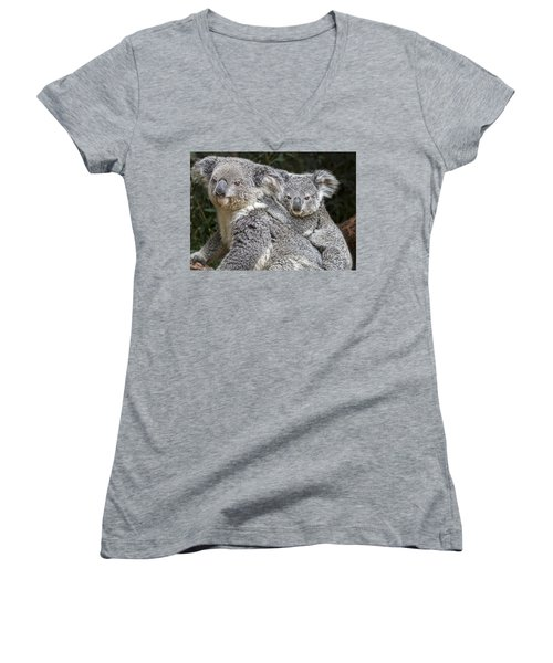 Mommy Hugs Women's V-Neck T-Shirt (Junior Cut) by Jamie Pham