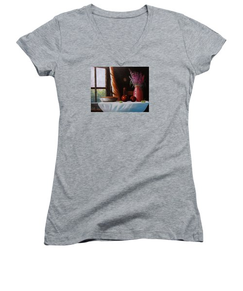 Women's V-Neck T-Shirt (Junior Cut) featuring the painting Mom's Apple Pie  by Gene Gregory