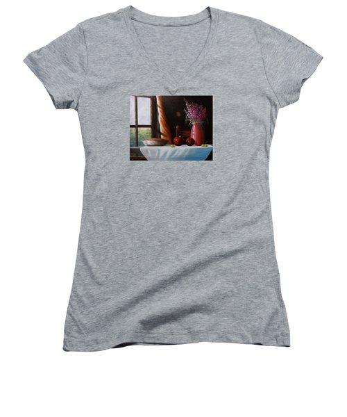 Mom's Apple Pie  Women's V-Neck T-Shirt (Junior Cut) by Gene Gregory