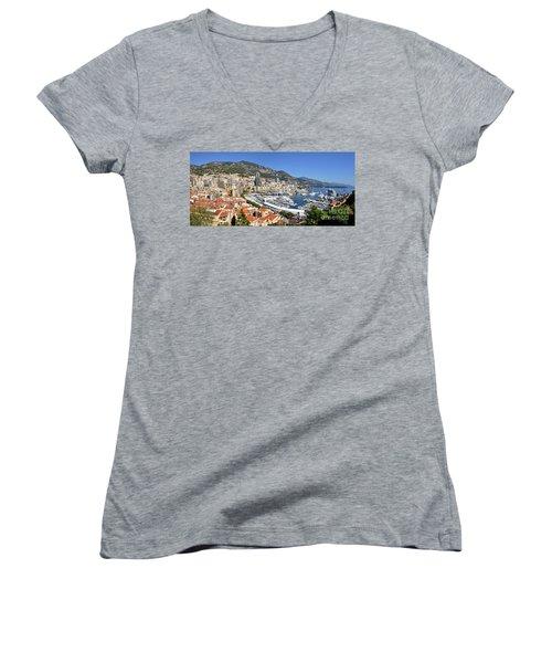 Women's V-Neck T-Shirt (Junior Cut) featuring the photograph Monaco Port Hercule Panorama by Yhun Suarez