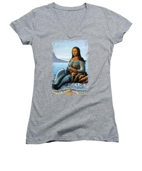 Monalisa Mermaid Women's V-Neck T-Shirt