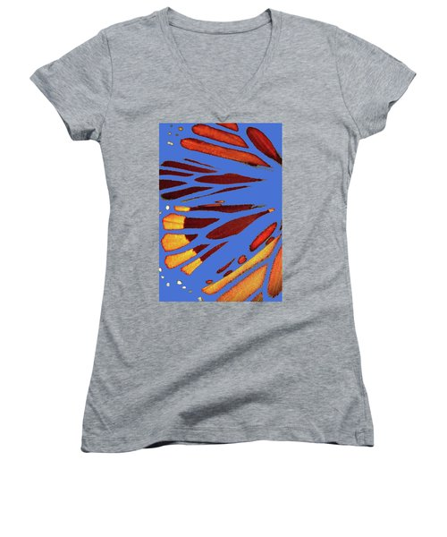 Monarch Abstract Blue Women's V-Neck (Athletic Fit)