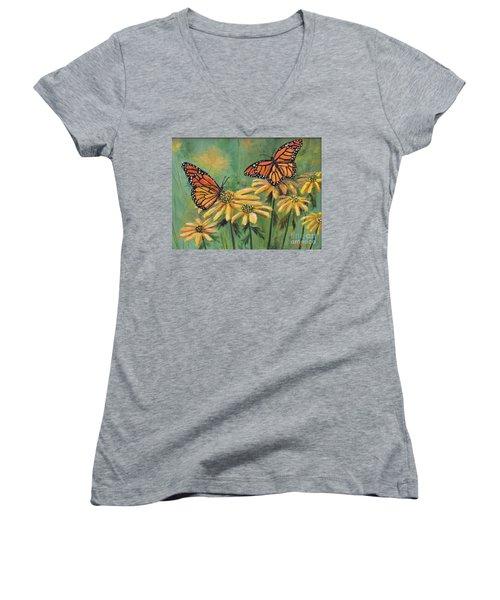 Monarch Butterflies Women's V-Neck T-Shirt (Junior Cut) by Lou Ann Bagnall