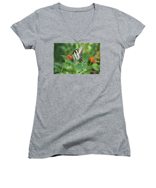 Monarch Butterfly Women's V-Neck T-Shirt (Junior Cut) by Debra Crank