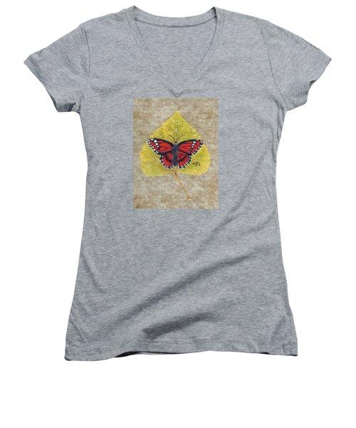 Monarch Butterfly Women's V-Neck T-Shirt (Junior Cut) by Ralph Root