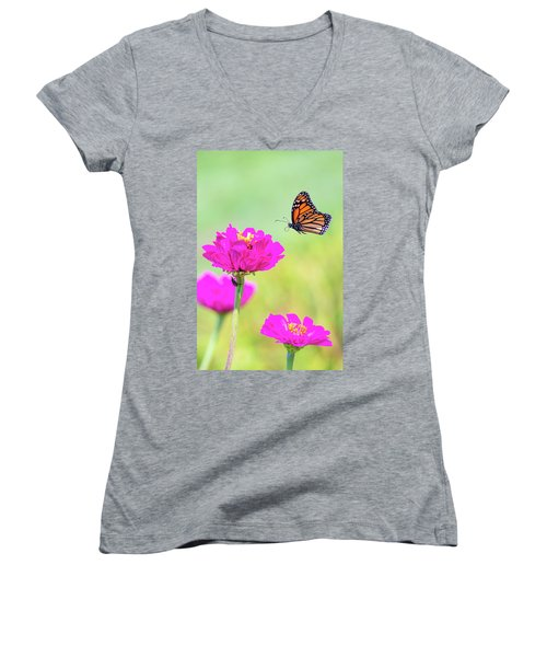 Women's V-Neck featuring the photograph Monarch In Flight 1 by Brian Hale