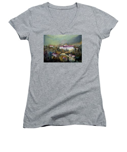 Women's V-Neck T-Shirt (Junior Cut) featuring the painting Monastery In Mountain by Samiran Sarkar