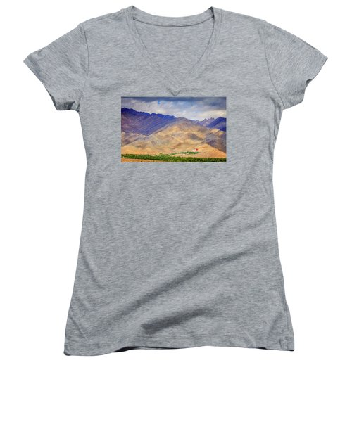 Women's V-Neck T-Shirt (Junior Cut) featuring the photograph Monastery In The Mountains by Alexey Stiop