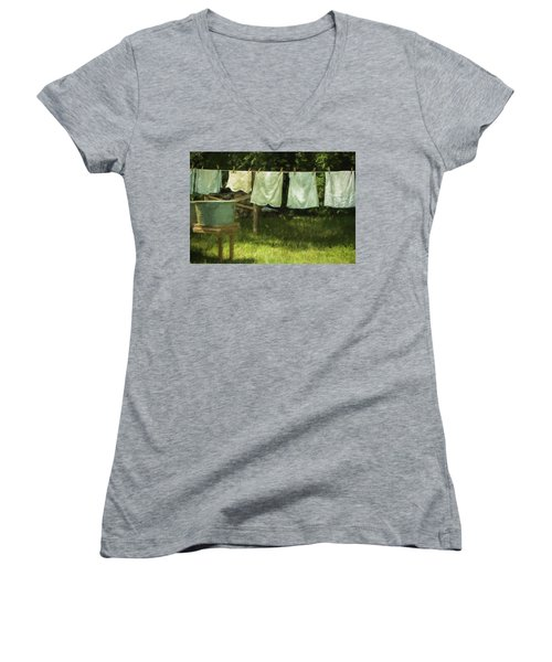Monday Was Wash Day Women's V-Neck T-Shirt (Junior Cut) by Patrice Zinck