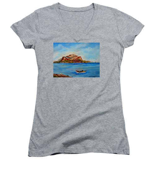 Monemvasia Women's V-Neck T-Shirt